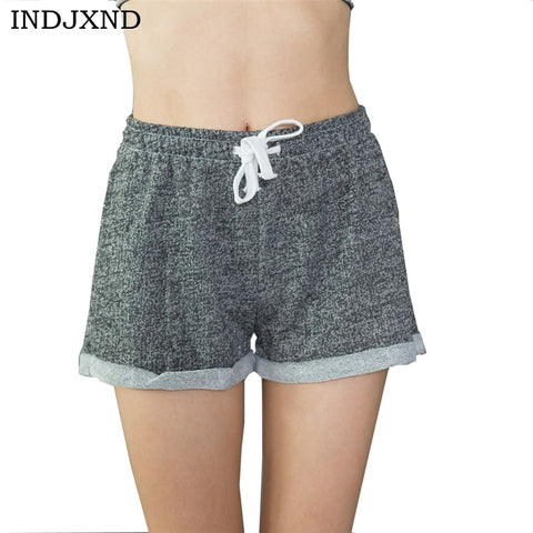 INDJXN Exercise Wear for Women Summer Casual High Waist Short Black Short Femininos Ladies Workout Cotton Plus Size Shorts D050-lilugal
