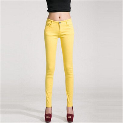 YSDNCHI Casual Women's Candy Pants Pencil Jeans Ladies Trouser Mid Waist Full Length Zipper Stretch Skinny Femme Women Pant K104-lilugal