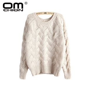 OMCHION Pull Femme Winter 2018 Autumn O Neck Oversized Knitted Mohair Sweater Women Long Sleeve Twist Slim Korean Pullover LS24-lilugal