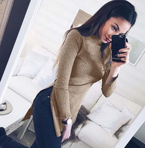 Fashion New Women Sweater Long Sleeve Sexy Slim Knitted Sweaters Splits Shirt Knitwear Turtleneck Ladies Sweater Pullover Thin-lilugal