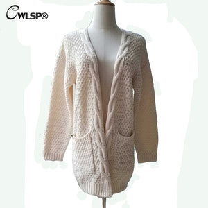 CWLSP Casual Long Sleeve Computer Knitted Autumn Women Long Sweater Open Stitch Solid Pockets Female Cardigan Sweater QZ2320-lilugal