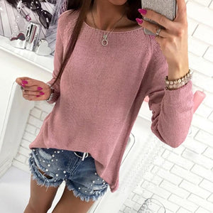 Casual Autumn Women Sweater Knitted Pullover Solid Sweater Zipper Back Female Oversized Sweater WS2274M-lilugal