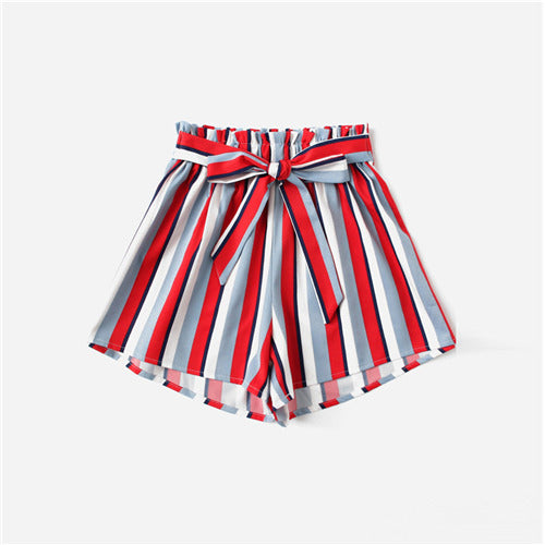 COLROVIE Frill Trim Bow Tie Striped Casual Shorts 2018 New Multicolor Mid Waist Beach Women Bottoms Loose Elastic Summer Shorts-lilugal