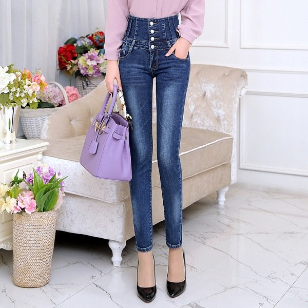 Autumn Spring Jeans Womens High Waist Elastic Skinny Denim Long Pencil Pants Back Cross Woman Jeans Camisa Feminina Trousers-lilugal