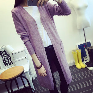 New Spring 2018 Women Sweater Cardigans Casual Warm Long Design Female Knitted Sweater Coat Cardigan Sweater Lady-lilugal