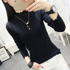 Korean winter sweater female half turtleneck sleeve head bottoming Shirt Short slim slim knit thickened solid twist-lilugal