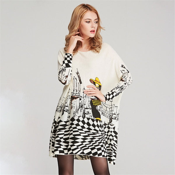 XIKOI Free Size Autumn Women Long Sweaters Slash Neck Batwing Sleeve New Printed Pullovers Female Loose Casual Knitted Sweaters-lilugal