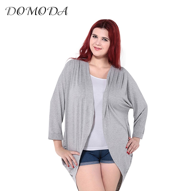 DOMODA Plus Size Autumn Women Loose Cardigan Big Size Long Sleeve Female Ruched Overall Modal Kimono Blouse 3XL 4XL 5XL 6XL-lilugal