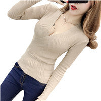 Womail sweater women V-Neck full pullovers korea sweater women's blouses sexy plunging necklines Nov 24 Dropship-lilugal