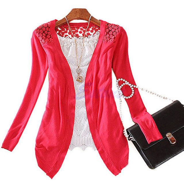 KLV Hot Women Sweet Lace Candy Crochet Knit Blouse Top Coat Cardigan Shirt Sweater 2018 New-lilugal