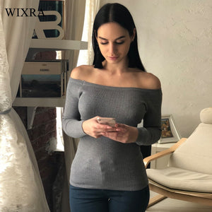 Wixra Warm and Charm Off Shoulder Knitted Sweater Women Autumn Elegant Jumper Pull Femel Winter High Stretch Knitwear Top-lilugal
