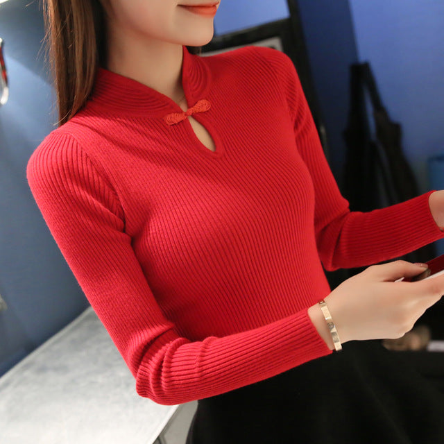 Hot 2016 Winter New Fashion Women sweaters Elegant Cheongsam collar sweater women slim pullover sweater Female Knitted Oversized-lilugal