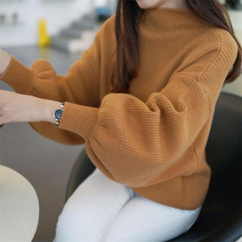 casual sweater women 2018 autumn and winter new Korean semi-high collar underwear sweater loose sets of lanterns sleeve sweater-lilugal