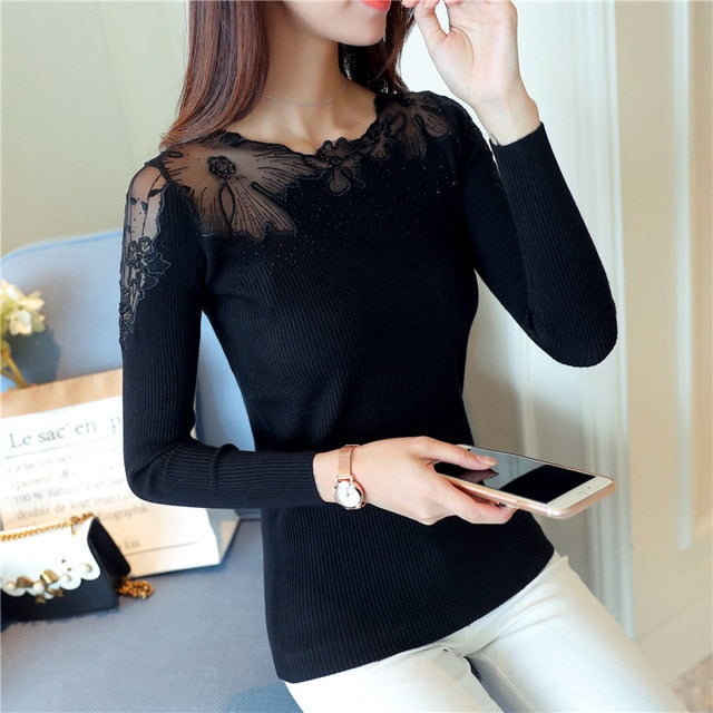 Women Pullovers 2017 Cashmere Sexy Lace Pullover Sweaters Fashion Patchwork Hollow Out Ruffled Collar Knitted Tops Pull Femme-lilugal