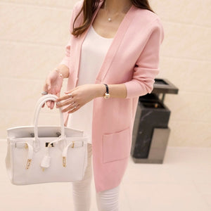 2018 New Women Knit Cardigan Autumn Loose Long Sweaters Fashion Pocket Sweater Coat-lilugal
