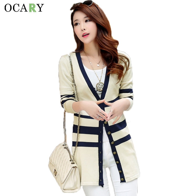 Striped Women Sweater Mujer Summer Cardigans Ladies Top V-neck Haut Femme Long Cardigans Knitted Maglioni Feminino Crochet-lilugal