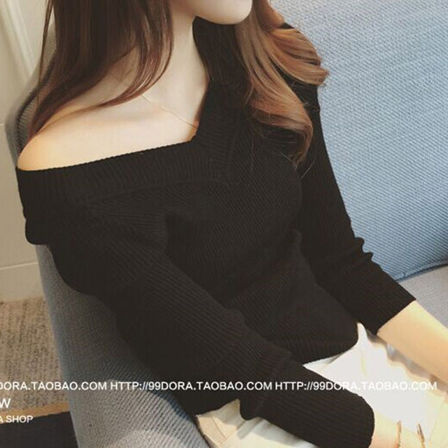 2018 Spring Autumn Slim V-Neck Knit Sweaters Women's Long-Sleeved Off the Shoulder Pullovers Sweater Female Bottoming Shirt-lilugal