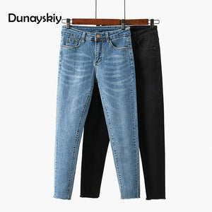 Dunayskiy Skinny Female Jeans High Waist Blue And Black Cropped Pencil Pants Spring Slim Thin Edge Students Women Jeans-lilugal