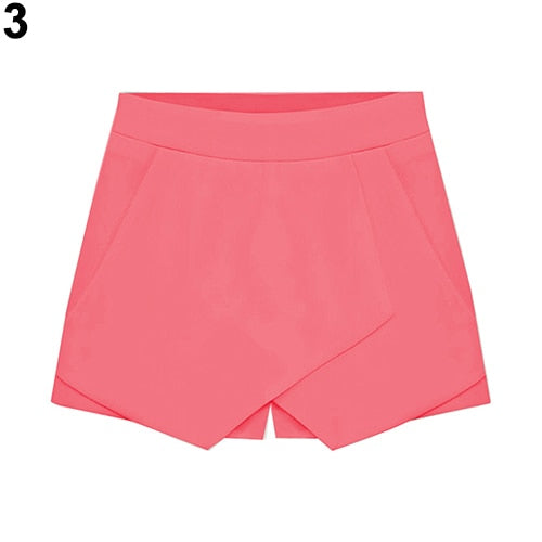 Women's Summer Sexy Casual Asymmetrical Front Candy Color Tulip Skort Shorts-lilugal
