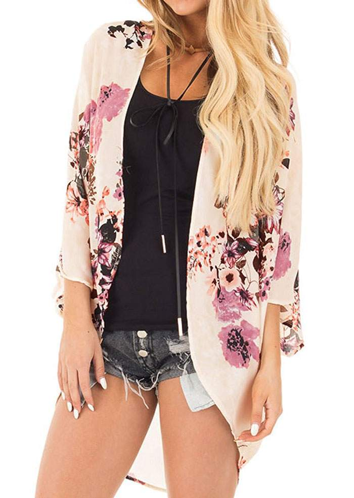 New Women Summer Floral Cardigan Kintted Flower Batwing Sleeve Knitted Cardigan Sweater 3/4 Sleeve Casual Ladies Tops-lilugal