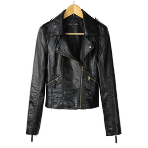 Red Leather Jacket Women 2018 New Fashion Autumn Long Sleeve Slim Sexy Short Coats Black PU Motorcycle Jacket Plus Size 3XL-lilugal