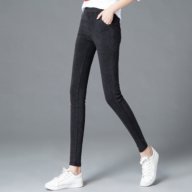 women's casual elastic jeans tights pants 2018 New arrival street wear black jogger leggings women sexy slim Denim Pencil Pants-lilugal