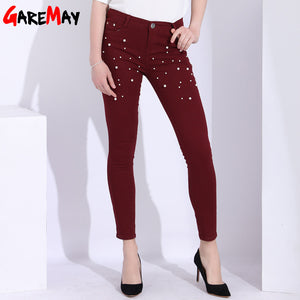 GAREMAY Beaded Pearl Female Jeans Woman Ankle Length Stretch Push Up Jeans With Beads Skinny Denim Pants Woman Vaqueros Mujer-lilugal