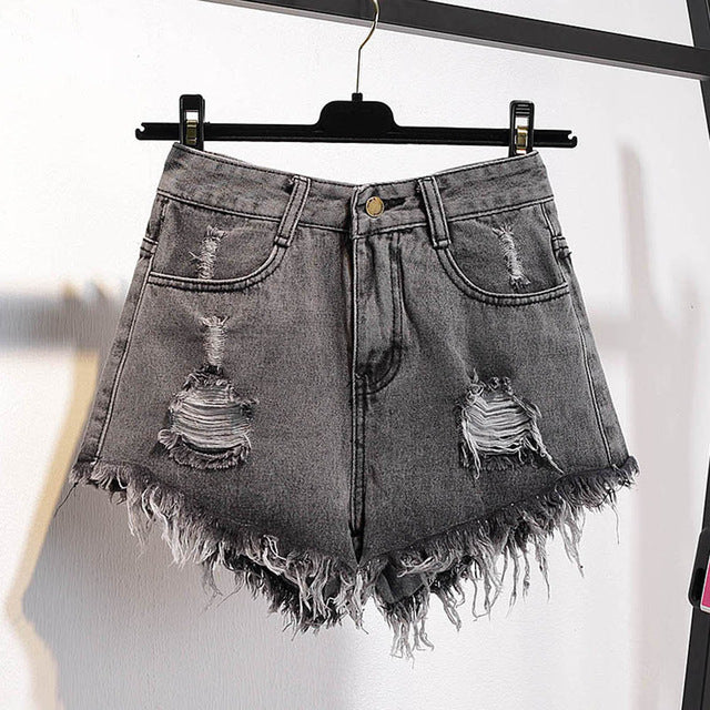 Multicolor Denim Shorts Women Lady High Waist Ripped Tassel Hot Hole Short Pants Jeans Oversized Plus Size Fashion 201-A004-lilugal