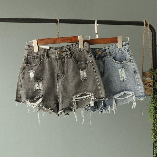 2018 New Jean Shorts Women Summer High Waisted Hole Denim Shorts Female Button Short Summer Wide Leg Slim Sexy Shorts Plus Size-lilugal