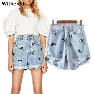 Freeshipping 2018 denim shorts women high waist shorts vintage embroidery Mickey cartoons hole loose short feminino shorts women-lilugal
