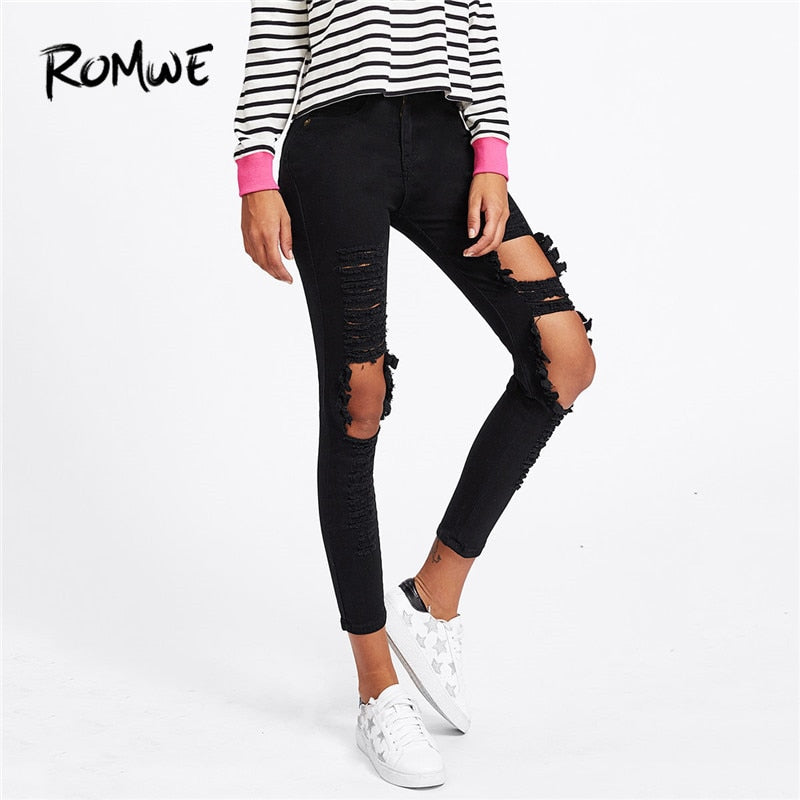 ROMWE Extreme Distressing Skinny Jeans Ripped Black Casual Rock Denim Pants 2018 Women Pocket Pencil Jeans-lilugal