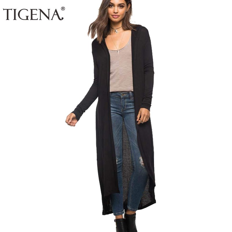 TIGENA Hooded Long Cardigan Women 2018 Spring Autumn New Casual Big Size Long Sleeve Cardigan Female Black Army Green Blouse-lilugal