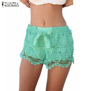 New Arrival 2018 Summer ZANZEA Women Shorts Casual Lace Drawstring Hollow Out Shorts Solid Sweet Shorts For Women Plus Size 3XL-lilugal
