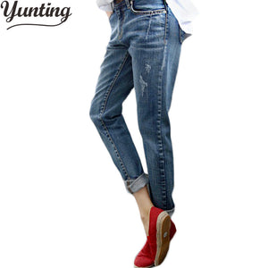 Boyfriend Jeans For Women 2018 Summer Basic Styles Vintage Distressed Regular Ripped Stretch Harem Denim Pants Woman Jeans-lilugal
