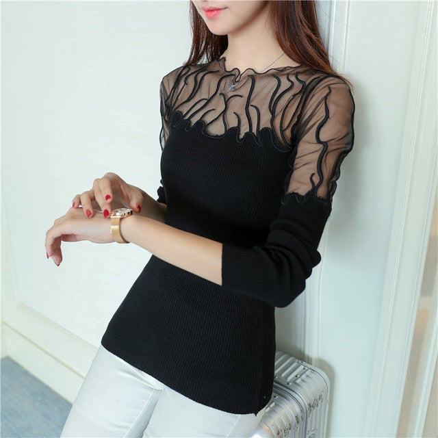 5814 real shot 2018 Korean version, fall new lace bottoming shirt 33 Women Jumpers Slim Sweaters Black Sweater Slim Bodycon Tops-lilugal