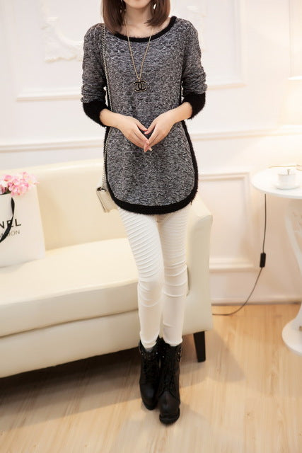 New Fashion Brand New Autumn/Winter Female Mohair Loose Sweater Knitted Long Sleeve O-neck Pullovers Hot Sale-lilugal