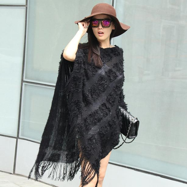 New Spring Autumn women sweater Ladies Pierced tassel Poncho sweater Long Knitted Pullovers women knitted coat-lilugal