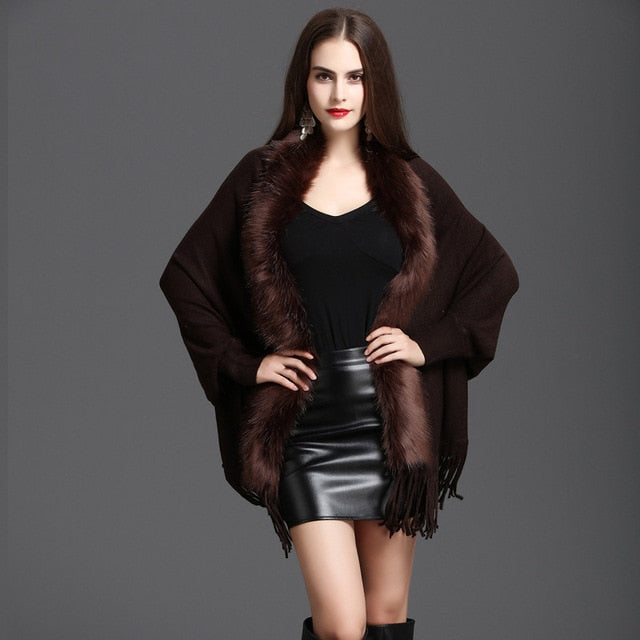 New Winter Womens Fashion Fake Fox Fur Collar Cashmere Sweater Poncho Women Long Thick Knitted tassel Cardigan Capes-lilugal