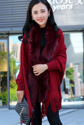 Fashion New Autumn And Winter Women Faux Fur Collar Cape Shawl Cardigan Women Tassel Knit Cardigan Sweater Poncho-lilugal