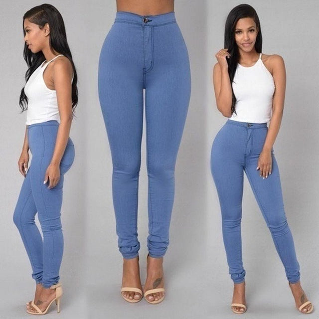 Europe and America Spring Boutique Women's Solid Color High Waist Tight Stretch Pencil Pants Candy Color Slim Wild Casual Jeans-lilugal