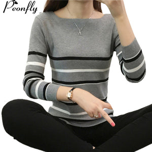PEONFLY Jumper Women Sweaters And Pullovers Knitted Striped Long Sleeve Cashmere Sweater Female Winter Top Pull Femme Winter-lilugal