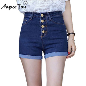 2018 Women 4 Buttons Elastic High Waist Shorts Fashion Feminino Denim Shorts for Women Loose Cuffs Straight Blue Short Jeans-lilugal