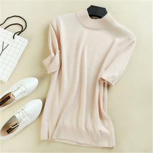 2018 Women's Cashmere Turtleneck Short Sleeve Knitted Sweater Tee Base T Wool Cashmere Brand Sweater Women Rider Wool sweater-lilugal