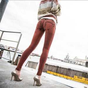Women Full Hip Skinny Elastic Waist Stretch Jeans New Fashion Sexy Female Autumn Winter Jeans Pencil Pants 5 colors-lilugal