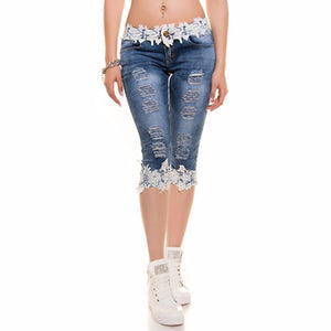 CFYH Womens Hollow Out Lace Mid Waist Denim Jeans Skinny Ladies Casual Half Length Pants Hole Ripped Frayed Destroyed Bodycon-lilugal