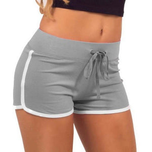 Esportes Fast Drying Drawstring Women Shorts Casual Anti Emptied Cotton Contrast Elastic Waist Correndo Short Pants 2018 Newest-lilugal
