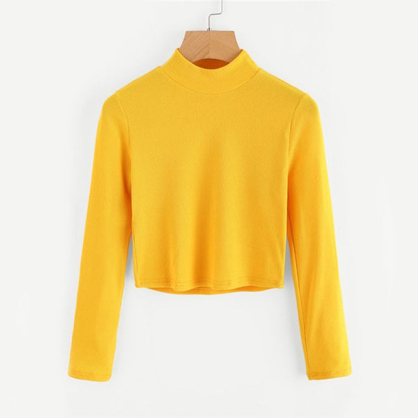 ROMWE High Neck Crop Sweater Yellow Long Sleeve 2018 Autumn Women Top Long Sleeve Loose Casual Pullovers Sweater-lilugal