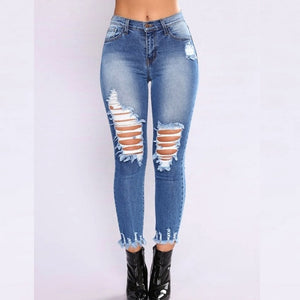 SLIM FIT Long Jeans Women MID Waist Skinny Pencil Denim Pants ripped hole cropped Elastic Stretch Jeans women summer fashion-lilugal