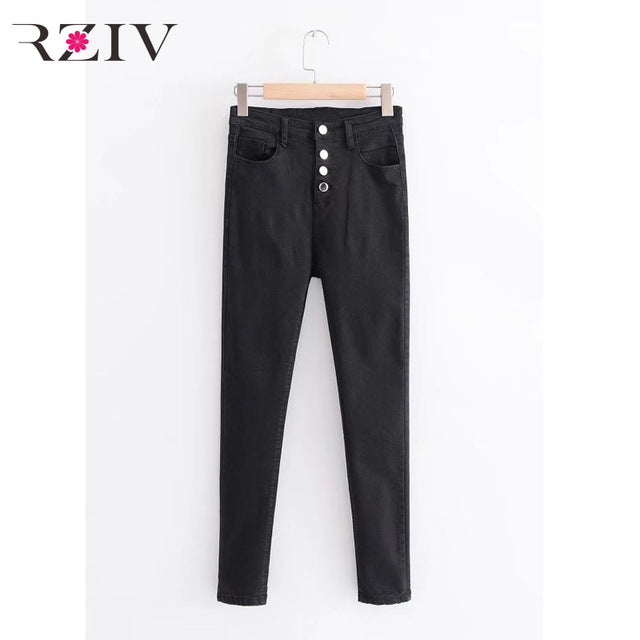 RZIV Spring 2018 women jeans casual solid color button-up trim high waist jeans and denim pants skinny big stretch jeans-lilugal