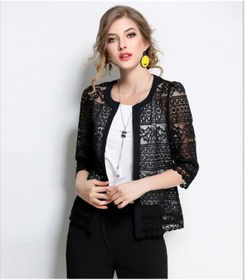 02694916c9b Plus Size 5XL New Spring Summer 3 4 Sleeve Jacket Women Thin Lace Hollow Out